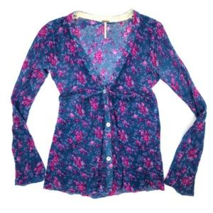 Free People Floral V-Neck Button Front Cardigan M